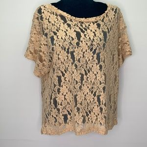 Needle & Thread Blouse Small Sheer Lace Layering
